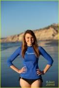 Aimee Teegarden - in bikini bottoms shooting a PSA for Oceana in California